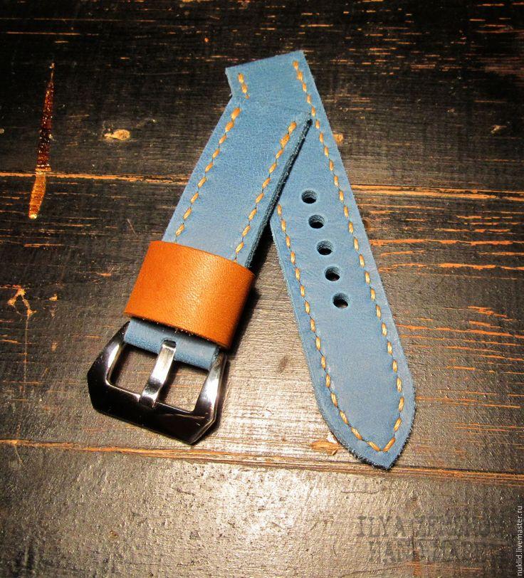 Купить Ремешок для часов Panerai - комбинированный, голубой, коричневый, ремешок для часов, ремешок, ремень из кожи