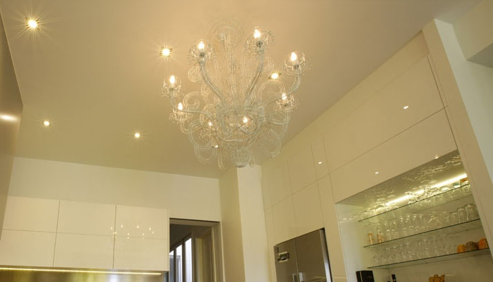 New Kitchen Renovation with wire-frame contemporary chandelier in Albert Park, Melbourne