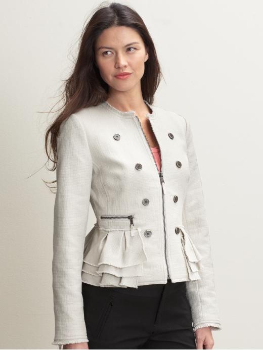 Banana Republic - Petite Textured ruffle jacket $240 ...