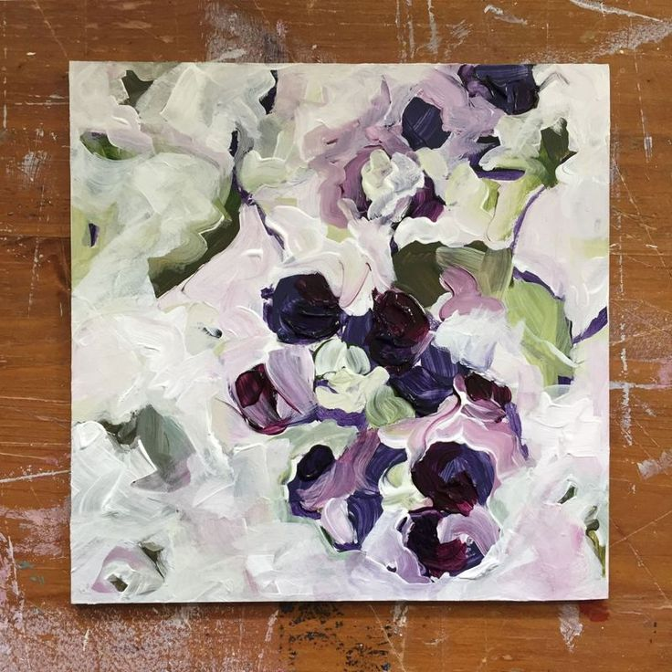 """""""Abstract Painting - Abstraction 4.30 - Acrylic on Panel"""" by Tammy Silbermann. Acrylic painting on Panel / Board / MDF, Subject: Flowers and plants, Organic style, One of a kind artwork, Signed on the back, Size: 15.24 x 15.24 x 0.33 cm (unframed), 6 x 6 x 0.13 in (unframed), Materials: Artist Quality Acrylic Paints, MDF Panel"""