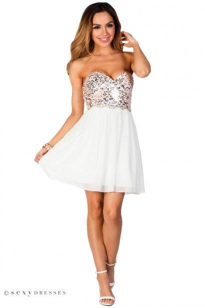 White Silver Party Dress