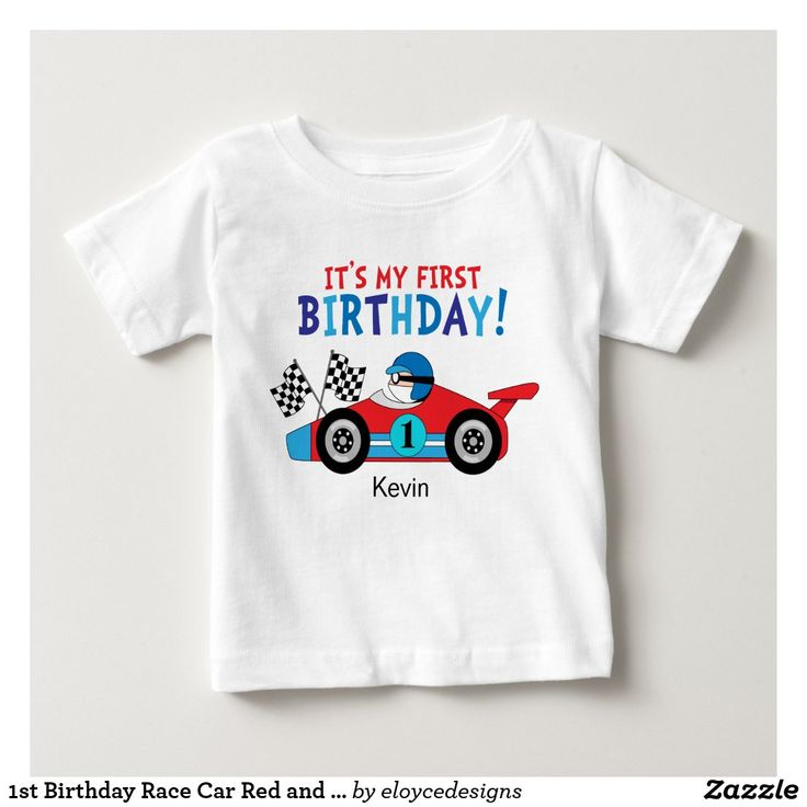 1st birthday race car red and blue baby tshirt zazzle