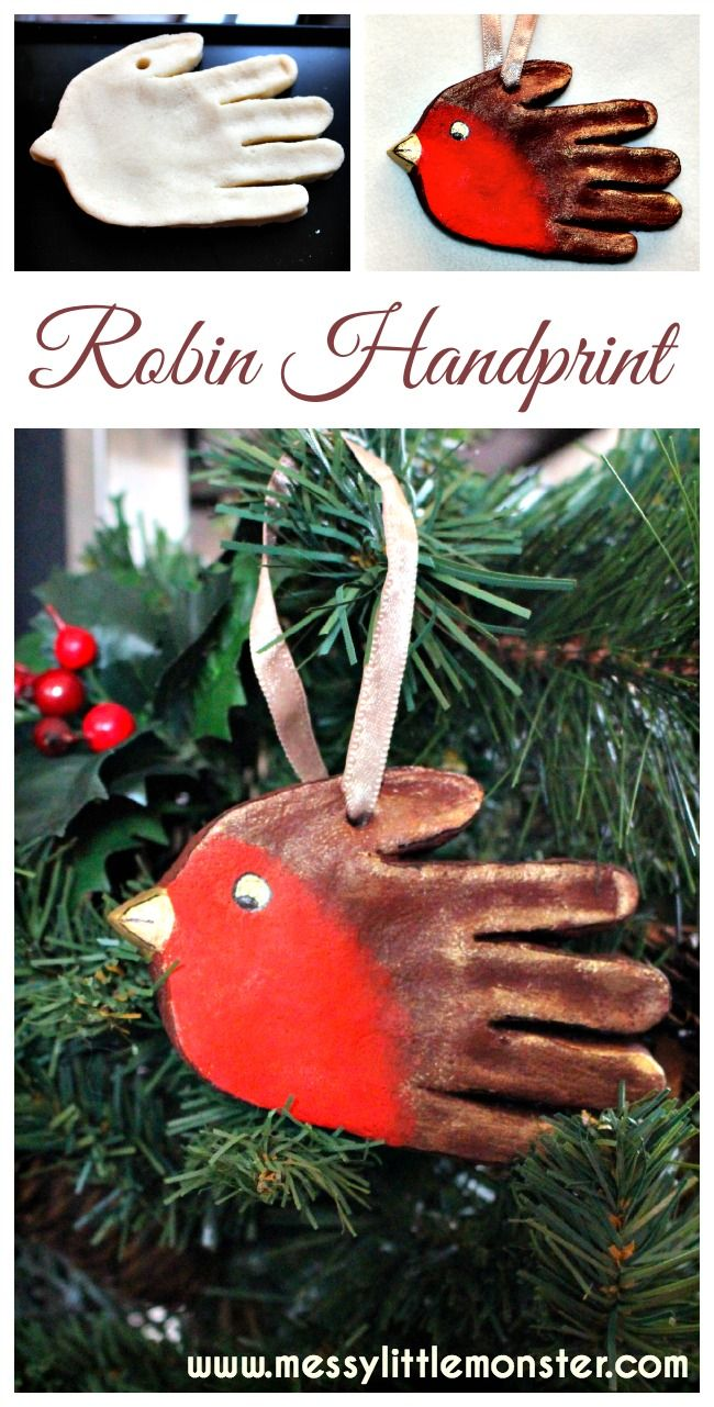 Salt dough handprint robin ornament.  Great Christmas keepsake for toddlers, preschoolers, older kids.