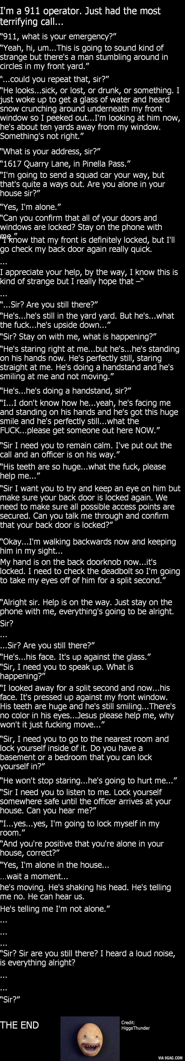 """Sir are you there?"" - 9GAG Dat moment when you didn't expect anything scary and then you read the story and realise it's dark outside and you are alone in your house"