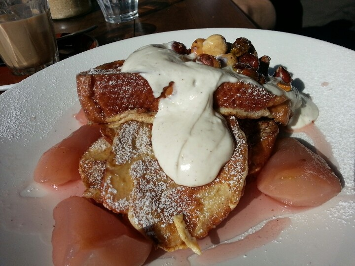 French toast with honey ladnah and poached pears. Balderdash.