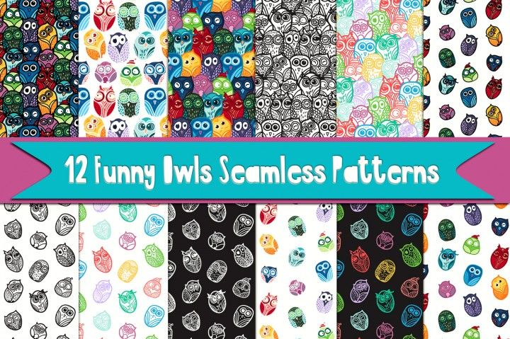 12 Vector Cartoon Funny Forest Owls Patterns