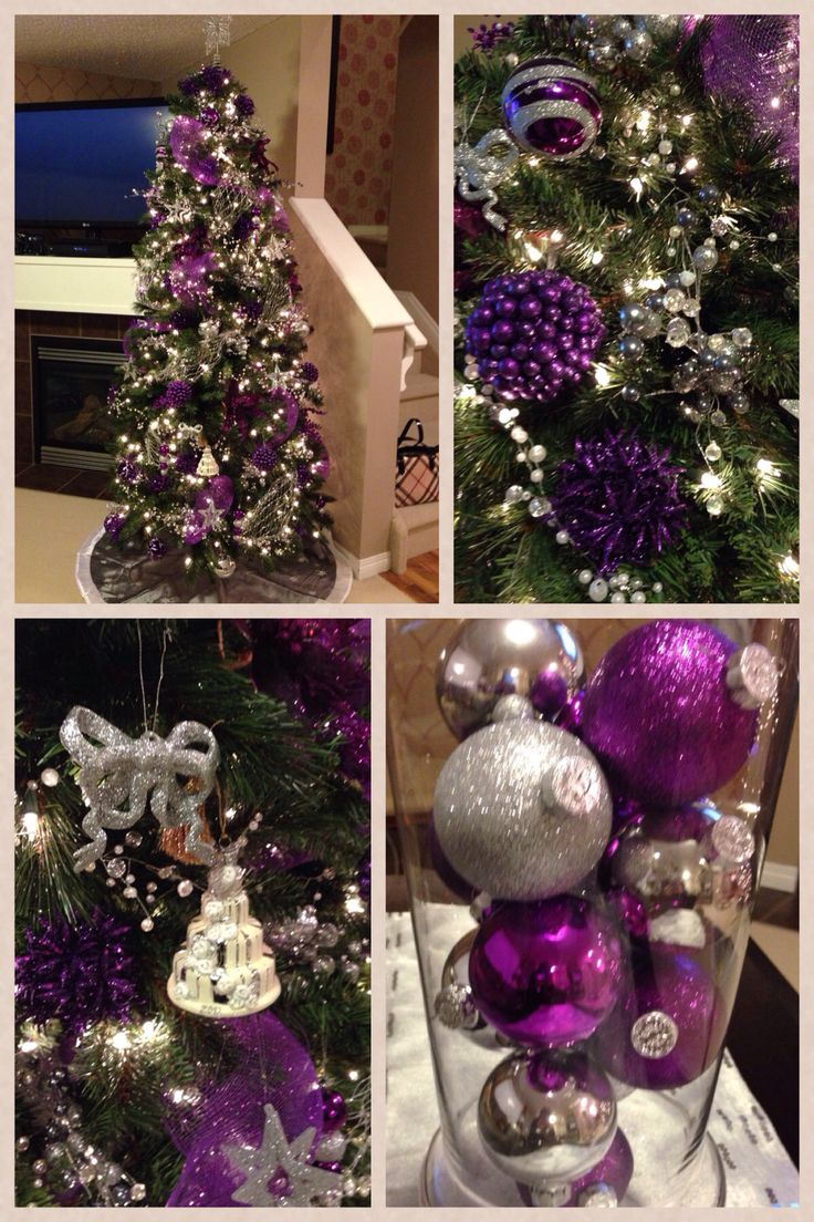 Purple decorated christmas trees - Purple And Silver Christmas Purple Christmas Decorationspurple Christmas Treexmas