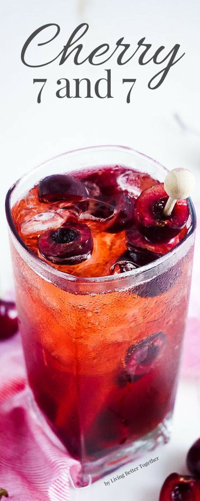 This Cherry 7 and 7 is a fun summer twist on the classic whiskey cocktail! [ad]
