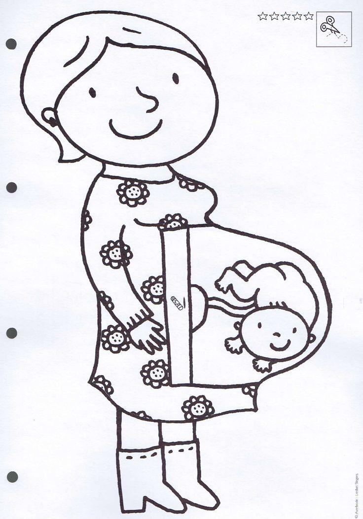 • Kleurplaat: zwangere mama, thema de baby •