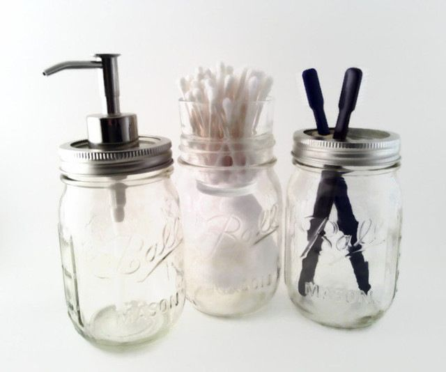 Pint Mason Jar Bath Set-Toothbrush Holder, Soap Pump, Cotton Ball & Swab Holder traditional-toothbrush-holders