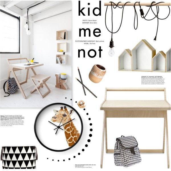 Scandinavian kids study room styling with Je Suis un Lapin 'Baby Giraffe' wall clock