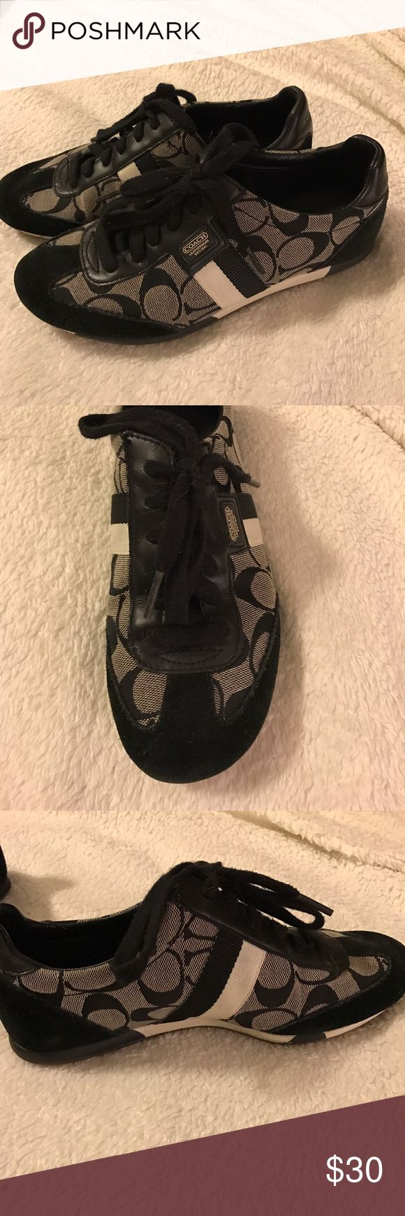 Coach tennis shoes Coach black tennis shoes with black/white stripe. Great condition!! Coach Shoes Sneakers