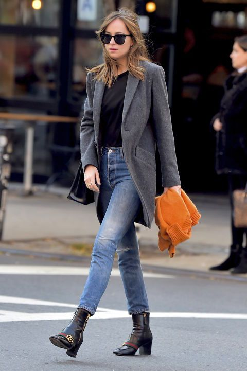 Dakota Johnson is looking very fall while out and about in NYC.