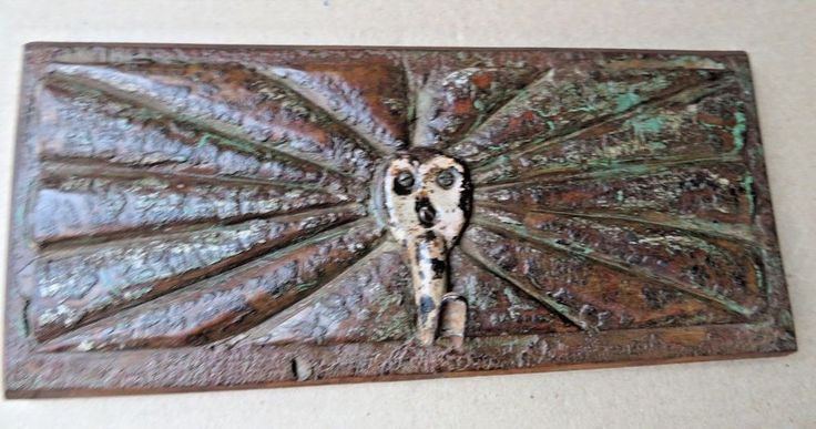 Antique reclaim Wall Coat hanger Kunti Iron hook carve wood dust Color panel #7 #RedesignedAntique