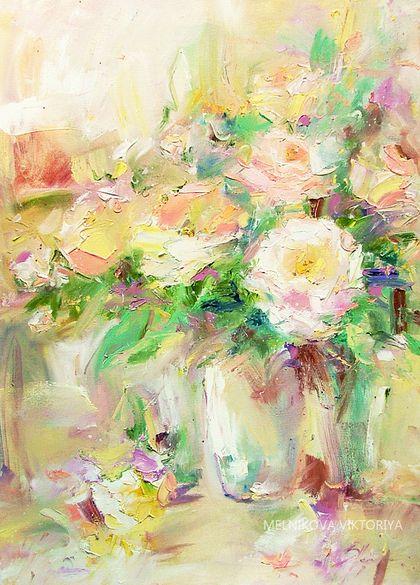 `Miss Dior `Роза Мисс Диор картина маслом. Картина 'Мисс Диор ' Букет свежих, пышных роз,  элегантной красоты, жемчужного цвета с оттенком слоновой кости, цветы этой розы имеют старомодный шарм, они махровые и пышные.     Прекрасный подарок будет хорошо смотреться в любом интерьере!