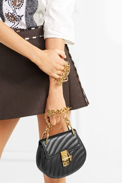 b5f162511f4 Chloé - Drew Bijou Quilted Leather Shoulder Bag - Black | Products ...