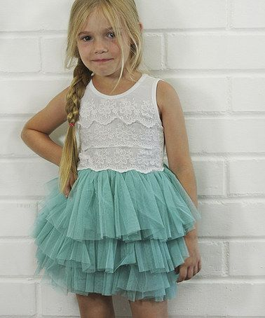Look at this #zulilyfind! Aqua Lace & Tulle Tutu Dress - Toddler & Girls #zulilyfinds