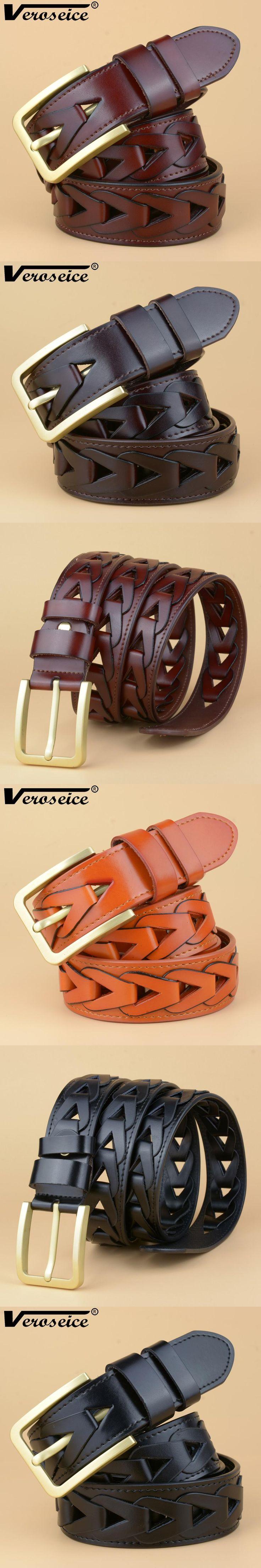 [Veroseice ] New Style Good Quality Genuine leather Belts for men Fashion Vintage Male Brass Pin Buckle Weavon Men Belt Cinto