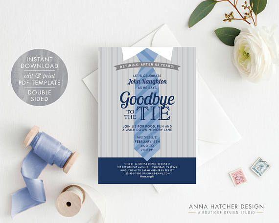 Retirement Party Invitation, Farewell Party Invitation, Goodbye to the Tie Invitation, Navy Blue/Grey DIY Editable PDF Invite Template - Anna Hatcher Design