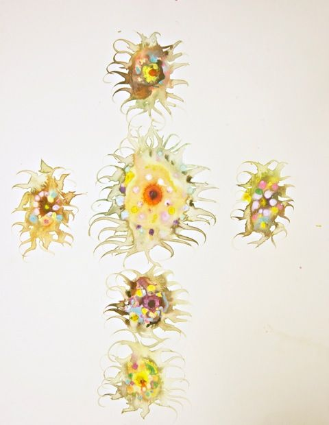 6 Sunflowers Watercolor 60x50 cm.