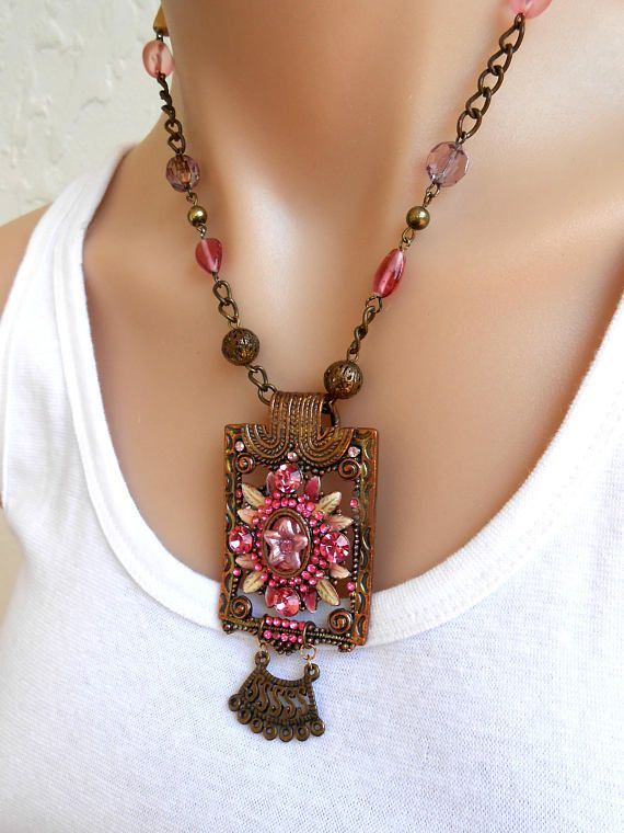 Vintage Necklace Pink Gold Statement Necklace Bohemian Jewelry