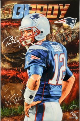Autographed-Tom-Brady-Patriots-24x36-Art-Fanatics-Authentic-COA-Item-7070018