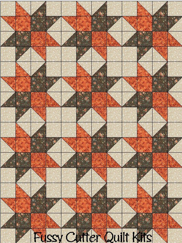 Brown Orange Floral Flowers Fabric Fast Easy Beginner Pre-Cut Patchwork Star Quilt Blocks top Kit Quilting Squares Material Sale