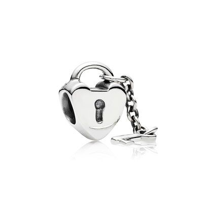 Key to My Heart - Sterling silver charm heart with key dangle attached. $40 #PANDORA #PANDORAcharm