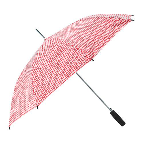 IKEA KNALLA Umbrella Red/white You only need one hand to open the umbrella since it unfolds automatically when you push the button.