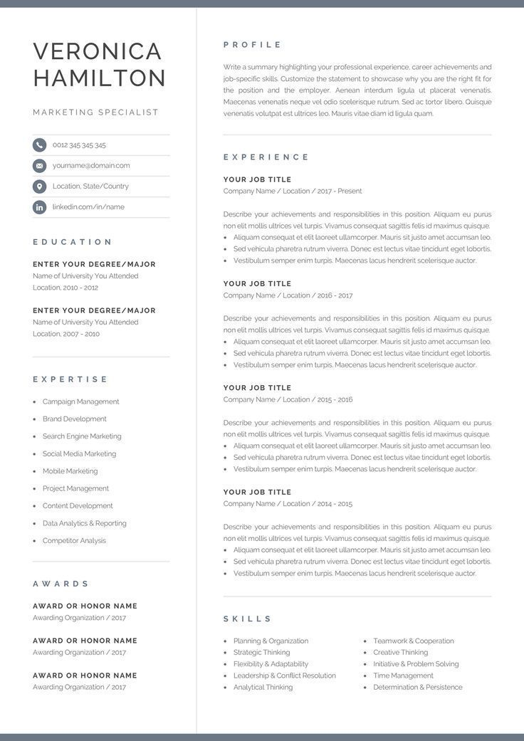 Resume Template With Matching Cover Letter And References Page Professional For Microsoft Word