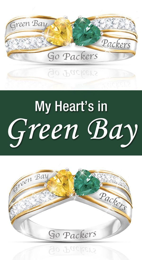 My Heart's In Green Bay Just because you run with the Pack doesn't mean you can't look dazzling! Slip into the Heart of Green Bay Packers Ring and show your true colors.