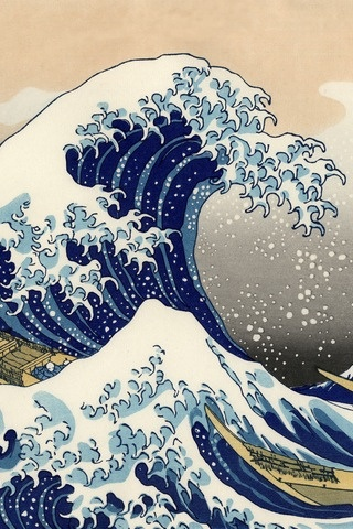 Japanese woodblock print--use as color theme for living room area? Incorporate warm tans/browns/white with some blue for a natural feel. Can also use Japanese indigo in this theme.