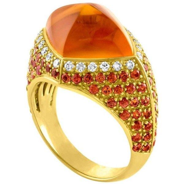 Preowned Kristina 9.09 Carat Madeira Citrine Sapphire Diamond Gold... ($2,900) ❤ liked on Polyvore featuring jewelry, rings, blue, fashion rings, gold rings, sapphire diamond ring, 18k gold ring, blue gold ring and citrine diamond ring
