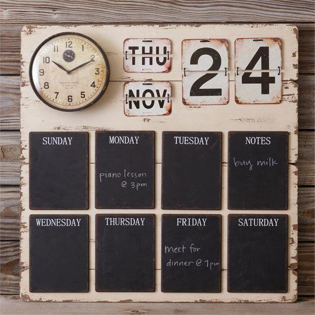 Clock Calendar Chalkboard Wall Organizer Chalkboard Calendar Mail Organizer Wall Family Organization Wall