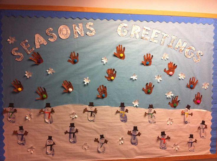 Season's Greetings Bulletin Board: Preschool Christmas, Greeting Bulletin, Classroom Arrangement, Christmas Bulletin, Seasons Bulletin, December Bulletin Boards, Boards Ideas, Classroom Ideas, Seasons Greeting