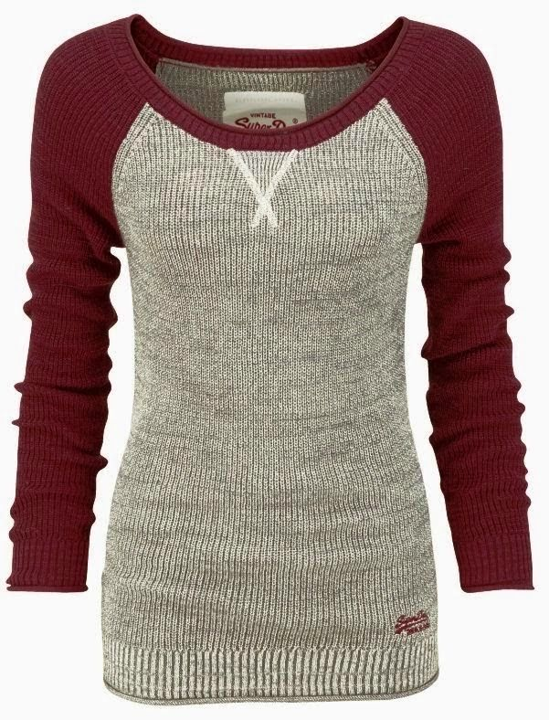 Comfy grey sweater with maroon full sleeves.