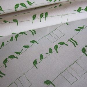 bird on a wire fabric: Hemp Organizations, Screens Prints, Prints Fabrics, Organizations Cotton, Prints Inspiration, Laundry Birds, Green Birds, Fabrics Inspiration, Birds Fabrics