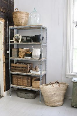   Recycle your old industrial metal shelf. It will look terrific once nicely arranged!  