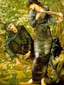 """Edward Burne-Jones, (1833 -1898) was een Engels kunstenaar, nauw verbonden met de Pre-Raphaelite Brotherhood. Burne-Jones onderging sterke invloed van o.a. Dante Gabriel Rossetti, William Morris en Botticell. Hij schiep zeer gekunstelde werken. Zachtaardige, bleke en etherische meisjes verschijnen in tal van zijn schilderijen, die zowel over Griekse mythologie als over Keltische legenden gaan. """"De begoocheling van Merlijn"""", 1874"""