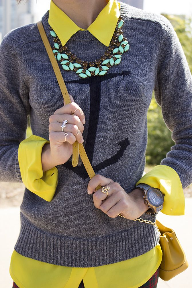 J.Crew Anchor Sweater Nautical Fashion