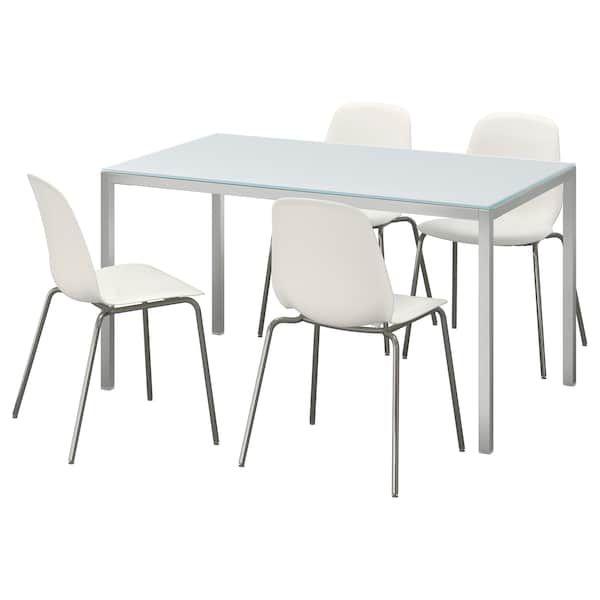 Torsby Leifarne Table Et 4 Chaises Verre Blanc Blanc Ikea Ensemble Table Et Chaise Table En Verre Table Et Chaises