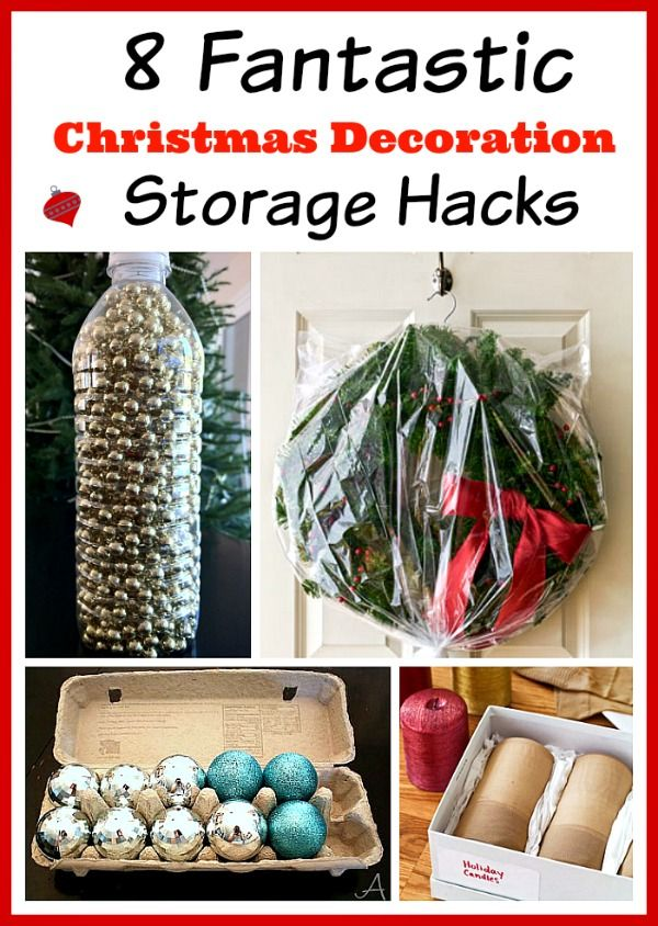 Low cost Christmas decor storage. It isn't nearly as much fun putting it away as it is getting it out, is it?