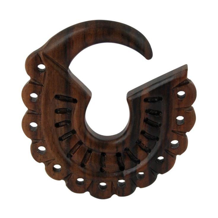 Espansione lobo orecchio pendente , dilatatore lobo in legno Narra con lavorazioni artigianali in stile MAYA. Disponibile vari diametri di Micromutazioni su Etsy
