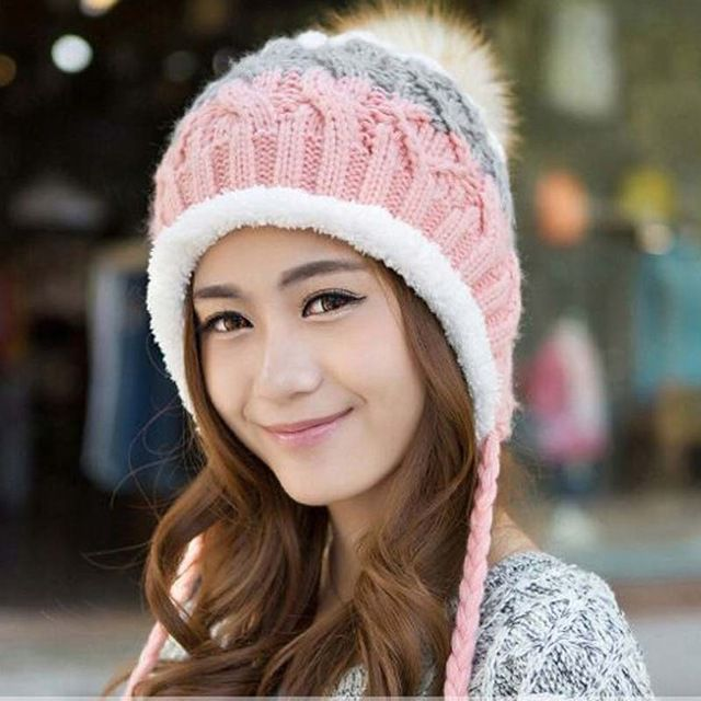Price Drop $5.29, Buy Lovely hat for women add wool beanie knitted cap to keep warm gorro masculino gorros in winter hat earmuffs cap bone Skullies