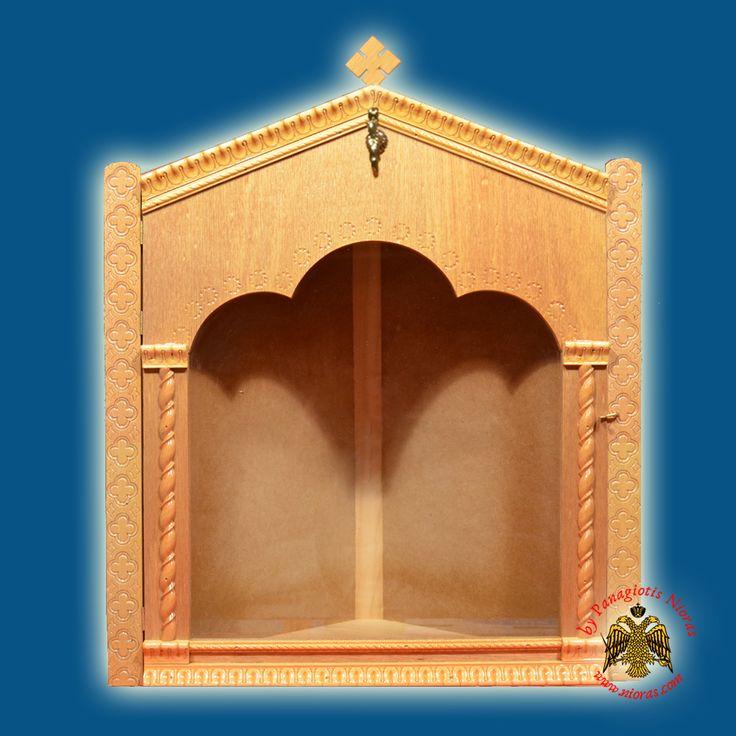 Eikonostasi Icon Wooden Case Corner B Natural Coloured LB