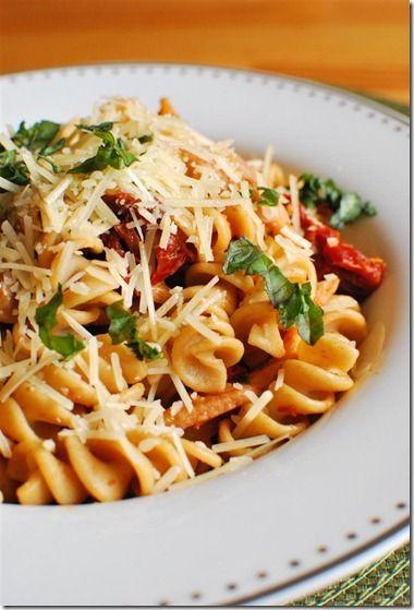 Bacon, Mushroom and Sun Dried Tomato pasta