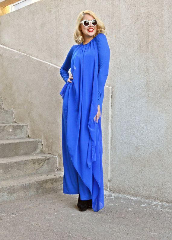 ON SALE Blue Extravagant Jumpsuit / Funky Loose Jumpsuit by Teyxo