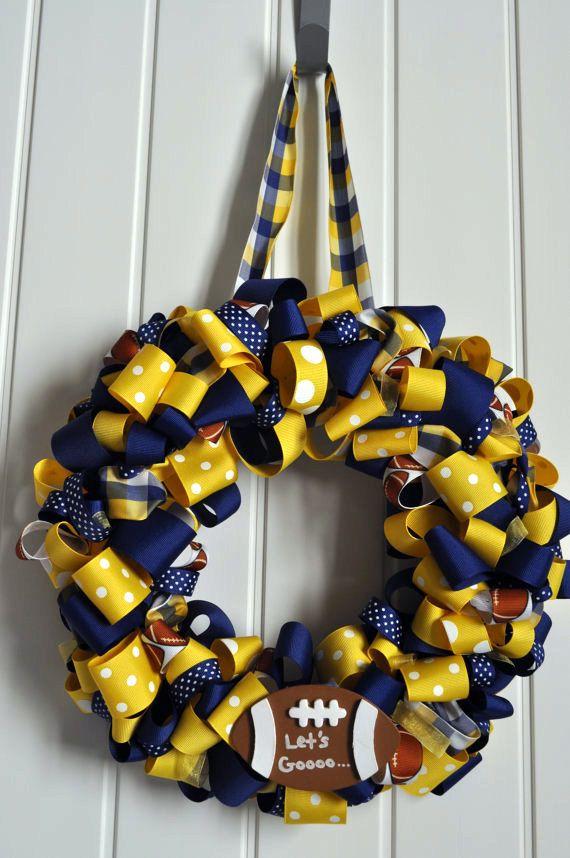 need to make this for football season!Diy Football Wreath, Football Seasons, Football Wreaths, Ribbons Wreaths, Football. Blue Gold, Wvu Wreaths, Michigan Football Crafts, Favorite Pin, Ribbon Wreaths