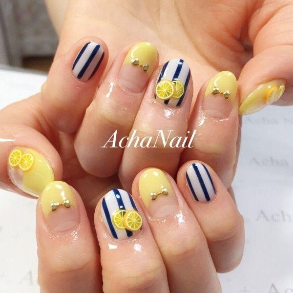 夏ネイル2015, レモンイエロー, レモンのネイル(Acha Nailさん) 13886 | NAILPLUS(ネイルプラス)