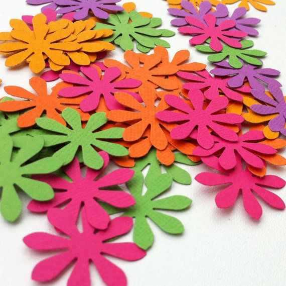 Bright Daisy Flower die cut embellishments. Easter, weddings, scrapbooking, DIY craft, gift tags, card making, table confetti, decorations.Bright Pink, Orange, Purple & Green.